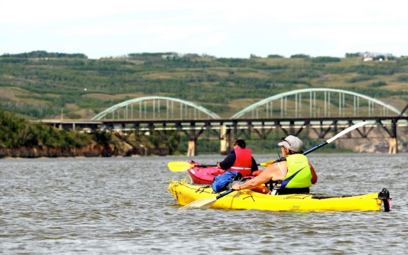 Paddle The Peace Kayakers And Bridge Laurie Stavne